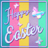 Happy Easter with Butterflies Novelty Square Sign SQ-324
