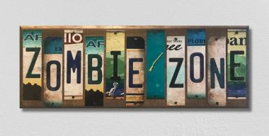 Zombie Zone License Plate Strip Wholesale Novelty Wood Sign WS-033