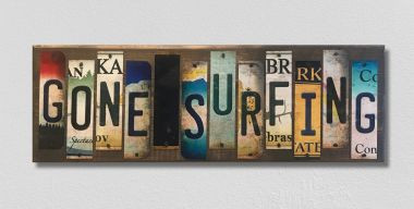 Gone Surfing License Plate Strip Novelty Wood Sign WS-034