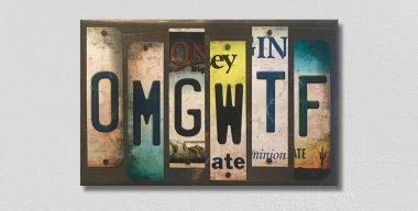 OMGWTF License Plate Strip Novelty Wood Sign WS-069