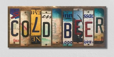 Cold Beer License Plate Strip Novelty Wood Sign WS-085
