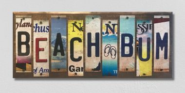 Beach Bum License Plate Strip Novelty Wood Sign WS-086