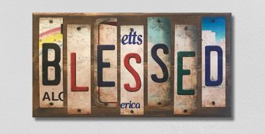Blessed License Plate Strips Novelty Wood Sign WS-091