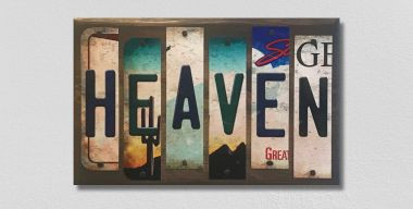 Heaven License Plate Strips Novelty Wood Sign WS-092
