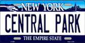 Central Park New York Novelty Metal License Plate