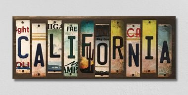 California License Plate Strips Novelty Wood Sign WS-122