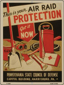 Air Raid Protection Vintage Poster Parking Sign P-1932