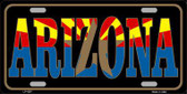 Arizona Inlayed State Flag Metal Novelty License Plate LP-4207