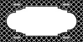 Black White Quatrefoil Center Scallop Metal Novelty License Plate LP-4296