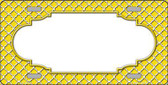 Yellow White Quatrefoil Center Scallop Metal Novelty License Plate LP-4300