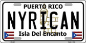 Nyrican Puerto Rico Metal Novelty License Plate