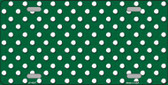 Green White Polka Dot Metal Novelty License Plate