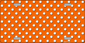 Orange White Polka Dot Metal Novelty License Plate
