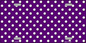 Purple White Polka Dot Metal Novelty License Plate