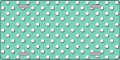 Mint White Polka Dot Metal Novelty License Plate