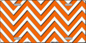 Orange White Chevron Metal Novelty License Plate LP-4472