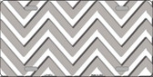 Grey White Chevron Metal Novelty License Plate LP-4474