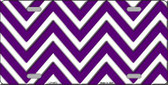 Purple White Chevron Metal Novelty License Plate LP-4475