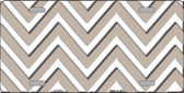 Tan White Chevron Metal Novelty License Plate LP-4479