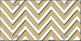 Gold White Chevron Metal Novelty License Plate LP-4480