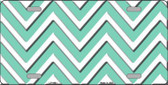 Mint White Chevron Metal Novelty License Plate LP-4481