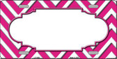 Pink White Chevron With Center Scallop Metal Novelty License Plate LP-4498
