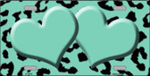 Mint Black Cheetah With Mint Center Hearts Metal Novelty License Plate LP-4543