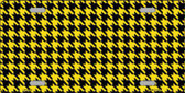 Yellow Black Houndstooth Metal Novelty License Plate LP-4563