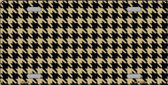 Gold Black Houndstooth Metal Novelty License Plate LP-4572