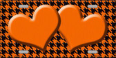 Orange Black Houndstooth With Orange Center Hearts Metal Novelty License Plate LP-4578