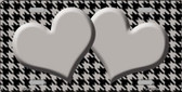 Grey Black Houndstooth Grey With Center Hearts Metal Novelty License Plate LP-4580