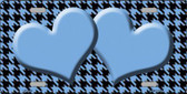 Light Blue Black Houndstooth With Light Blue Center Hearts Metal Novelty License Plate LP-4583