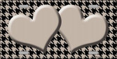 Tan Black Houndstooth With Tan Center Hearts Metal Novelty License Plate LP-4585