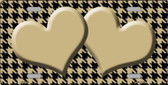 Gold Black Houndstooth With Gold Center Hearts Metal Novelty License Plate LP-4586