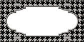 Grey Black Houndstooth With Scallop Center Metal Novelty License Plate LP-4595