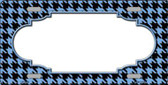 Light Blue Black Houndstooth With Scallop Center Metal Novelty License Plate LP-4598