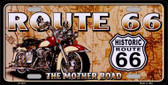 Route 66 Mother Road Metal Novelty License Plate