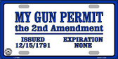 My Gun Permit Metal Novelty License Plate
