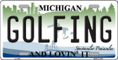 Golfing Michigan State Metal Novelty License Plate LP-4755