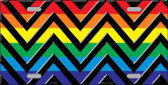 Rainbow Black Chevron Metal Novelty License Plate LP-4766