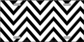 White Black Chevron Metal Novelty License Plate LP-4995