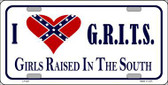 G.R.I.T.S. Confederate Flag Novelty Metal License Plate