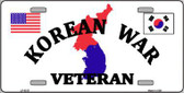 Korean War Veteran Novelty Metal License Plate