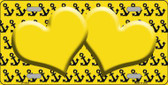 Yellow Black Anchor Print With Yellow Heart Center Metal Novelty License Plate LP-5302