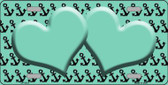 Mint Black Anchor Heart Center Metal Novelty License Plate LP-5312
