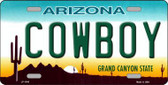 Cowboy Arizona Novelty Metal License Plate