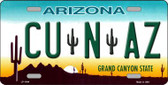 Cu N Az Novelty Metal License Plate