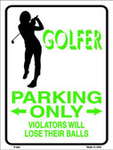 Golfer Parking Only Female Metal Novelty Parking Sign P-654