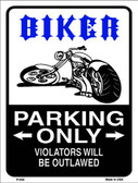 Biker Parking Only Metal Novelty Parking Sign P-659