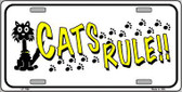 Cat's Rules Novelty Metal License Plate